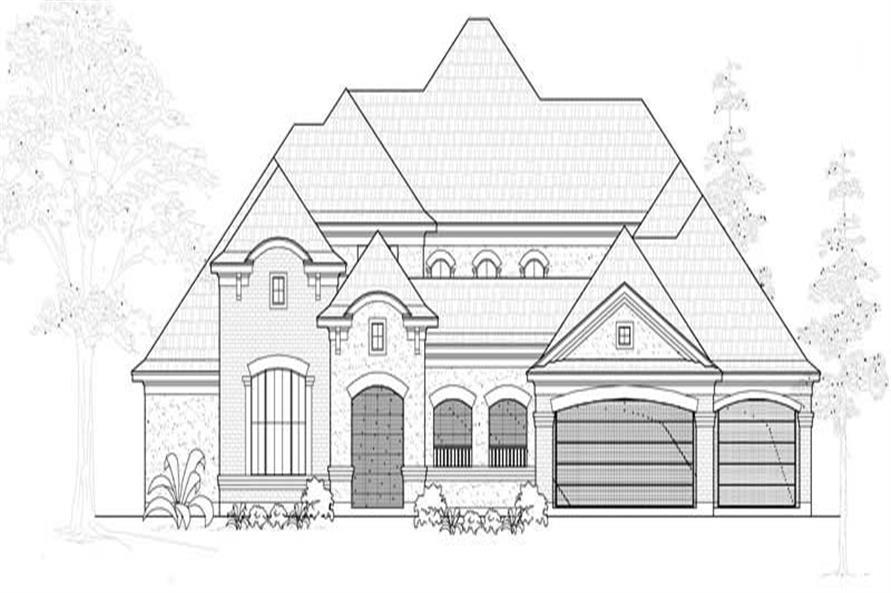 Home Plan Front Elevation of this 4-Bedroom,4101 Sq Ft Plan -134-1000