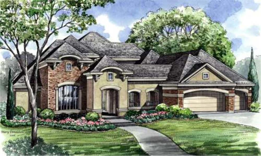 Front elevation of Luxury home (ThePlanCollection: House Plan #134-1000)