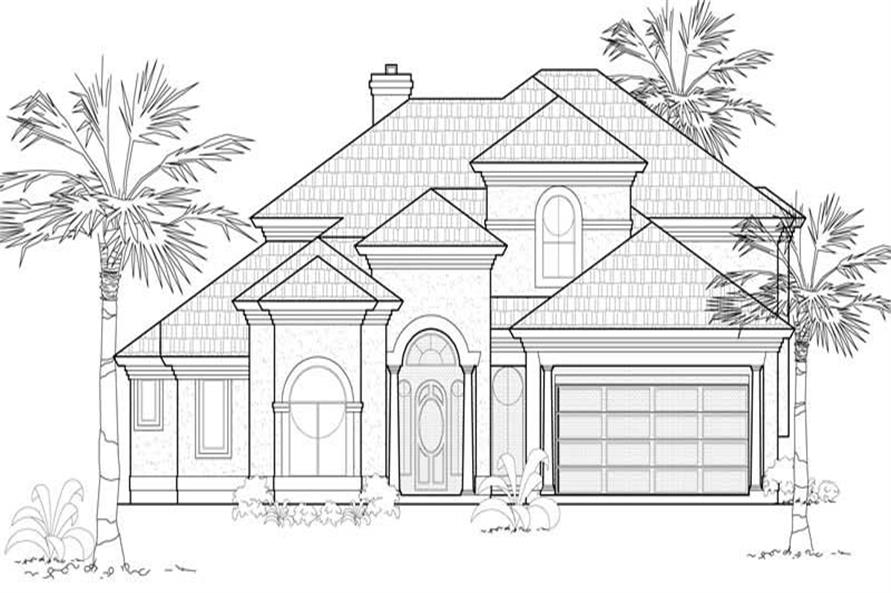 4-Bedroom, 4004 Sq Ft Mediterranean House Plan - 134-1003 - Front Exterior