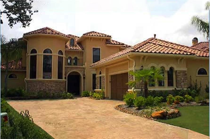 4-Bedroom, 3732 Sq Ft Mediterranean House Plan - 134-1011 - Front Exterior