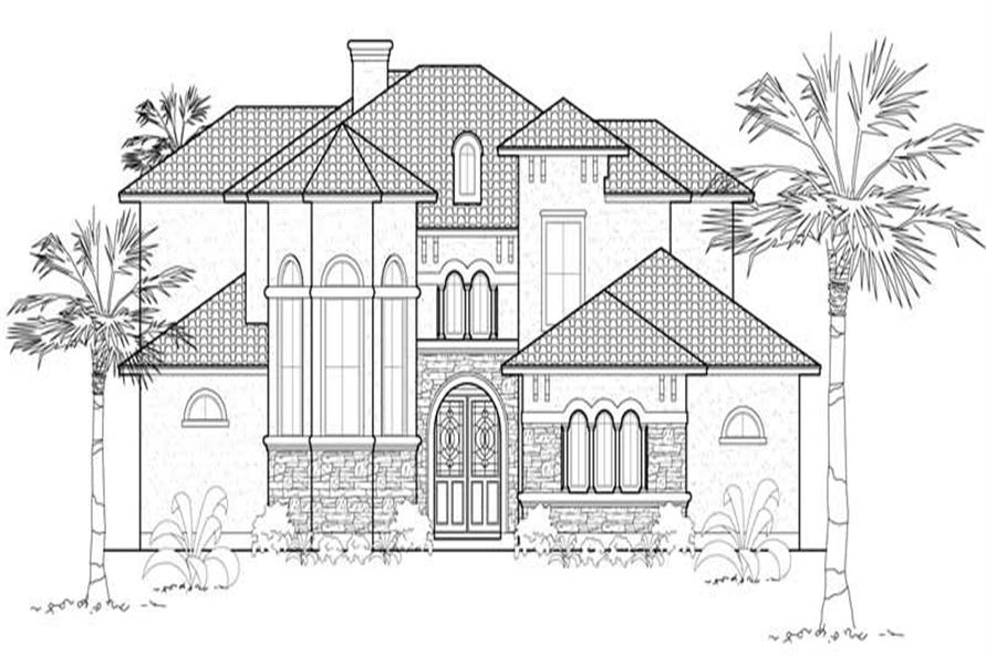 Home Plan Front Elevation of this 4-Bedroom,3732 Sq Ft Plan -134-1011