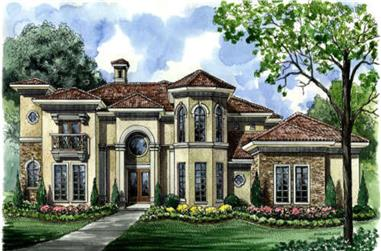3-Bedroom, 4145 Sq Ft Mediterranean House Plan - 134-1013 - Front Exterior