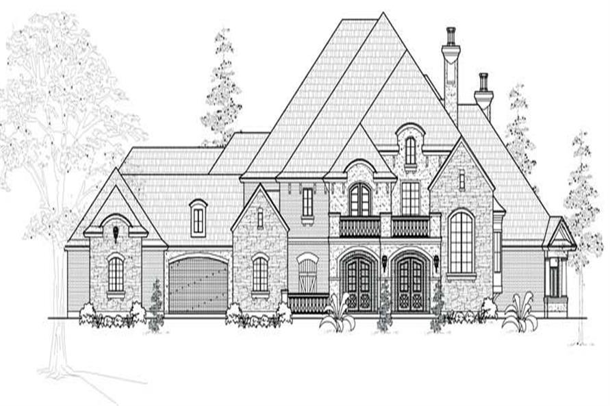 Home Plan Front Elevation of this 4-Bedroom,6634 Sq Ft Plan -134-1027