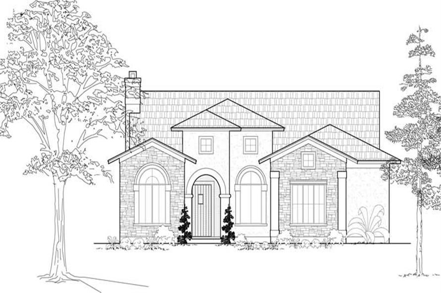 Front elevation of Mediterranean home (ThePlanCollection: House Plan #134-1034)