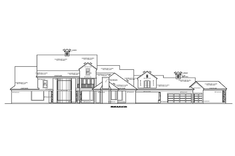 Home Plan Rear Elevation of this 4-Bedroom,5881 Sq Ft Plan -134-1041