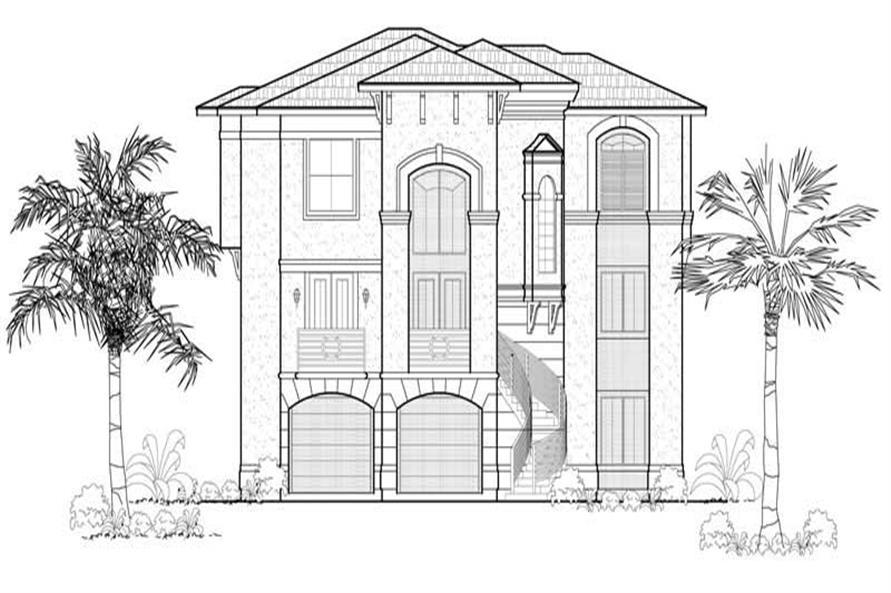 3-Bedroom, 3661 Sq Ft Mediterranean Home Plan - 134-1043 - Main Exterior