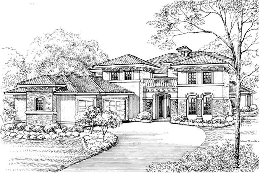 5-Bedroom, 6721 Sq Ft Mediterranean Home Plan - 134-1046 - Main Exterior