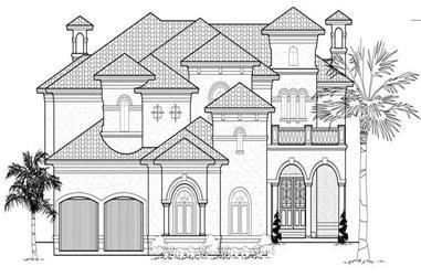 4-Bedroom, 6907 Sq Ft Mediterranean House Plan - 134-1047 - Front Exterior