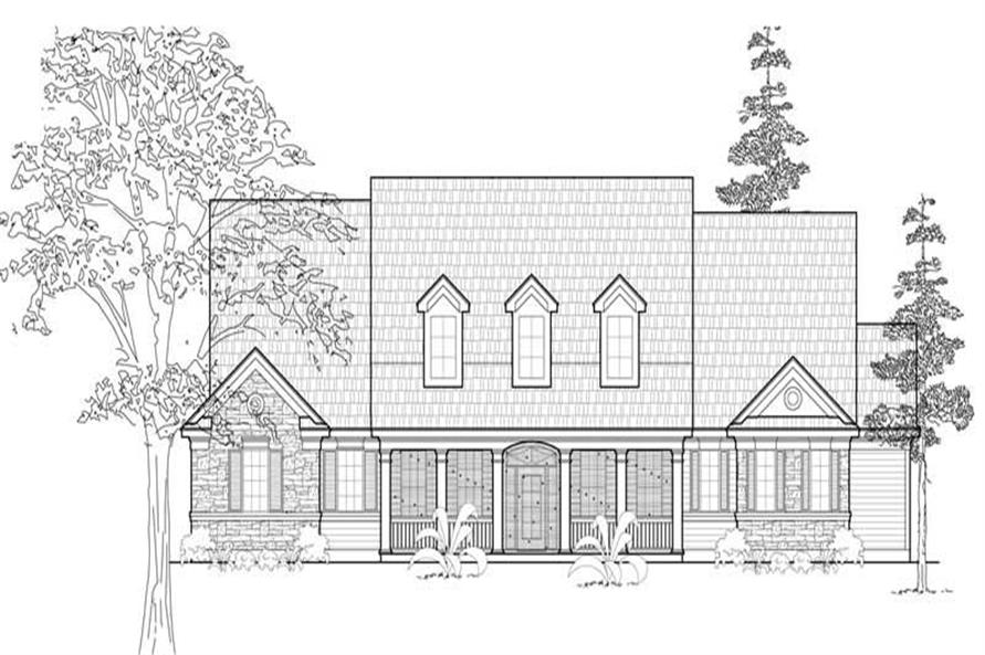 4-Bedroom, 3676 Sq Ft Country House Plan - 134-1056 - Front Exterior