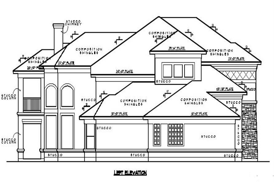 Home Plan Left Elevation of this 5-Bedroom,4978 Sq Ft Plan -134-1067