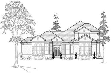 4-Bedroom, 4861 Sq Ft Mediterranean House Plan - 134-1070 - Front Exterior