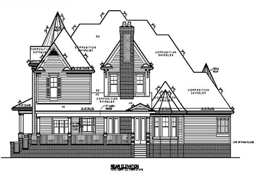 Home Plan Rear Elevation of this 3-Bedroom,4756 Sq Ft Plan -134-1071