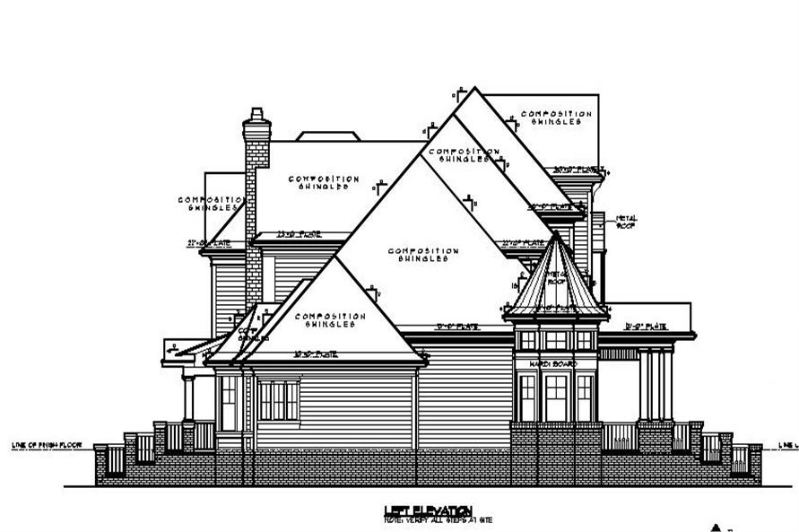 Home Plan Left Elevation of this 3-Bedroom,4756 Sq Ft Plan -134-1071