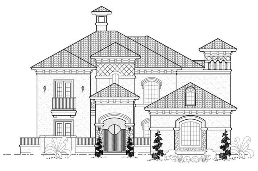 4-Bedroom, 4621 Sq Ft Mediterranean House Plan - 134-1074 - Front Exterior