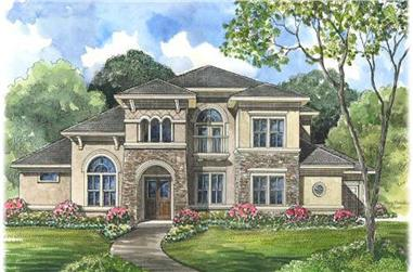5-Bedroom, 4486 Sq Ft Mediterranean Home Plan - 134-1087 - Main Exterior