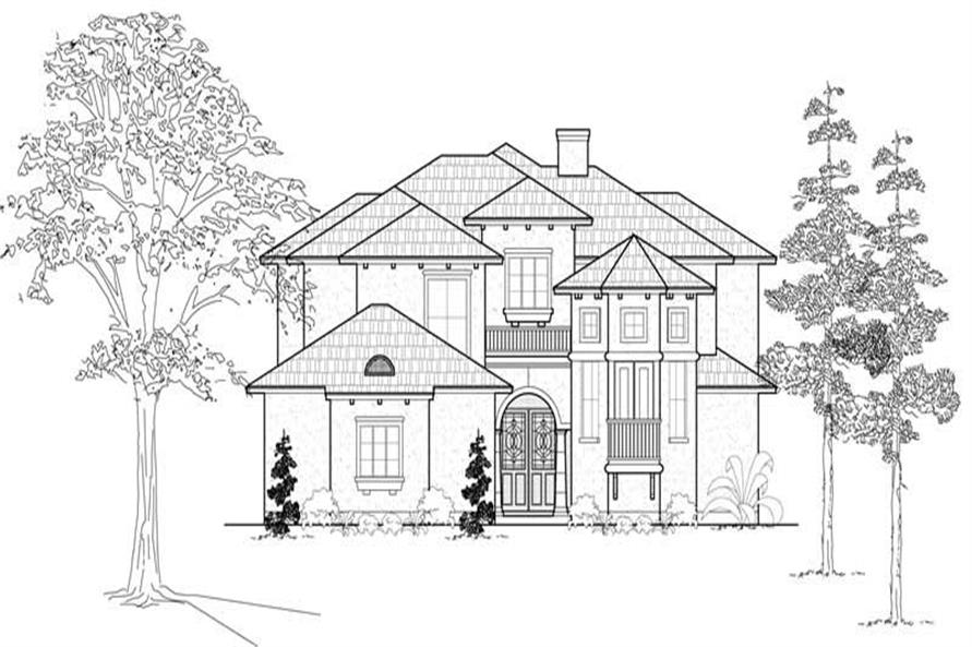 4-Bedroom, 3485 Sq Ft Mediterranean Home Plan - 134-1101 - Main Exterior
