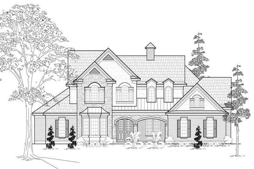Home Plan Front Elevation of this 4-Bedroom,4461 Sq Ft Plan -134-1114