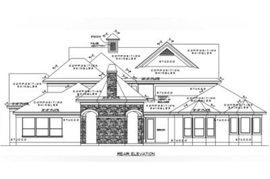 Home Plan Rear Elevation of this 4-Bedroom,4461 Sq Ft Plan -134-1114