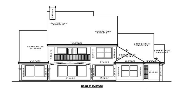 134-1130: Home Plan Rear Elevation