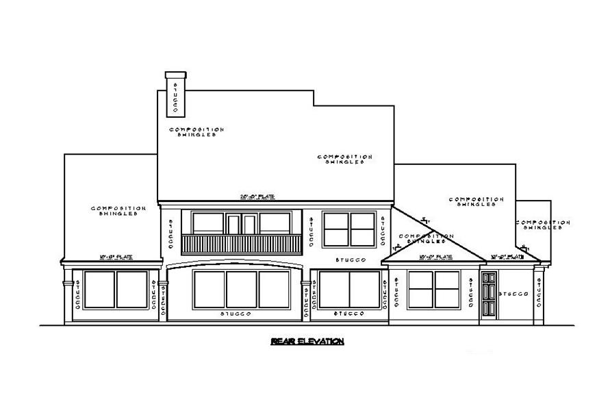 Home Plan Rear Elevation of this 5-Bedroom,4550 Sq Ft Plan -134-1130