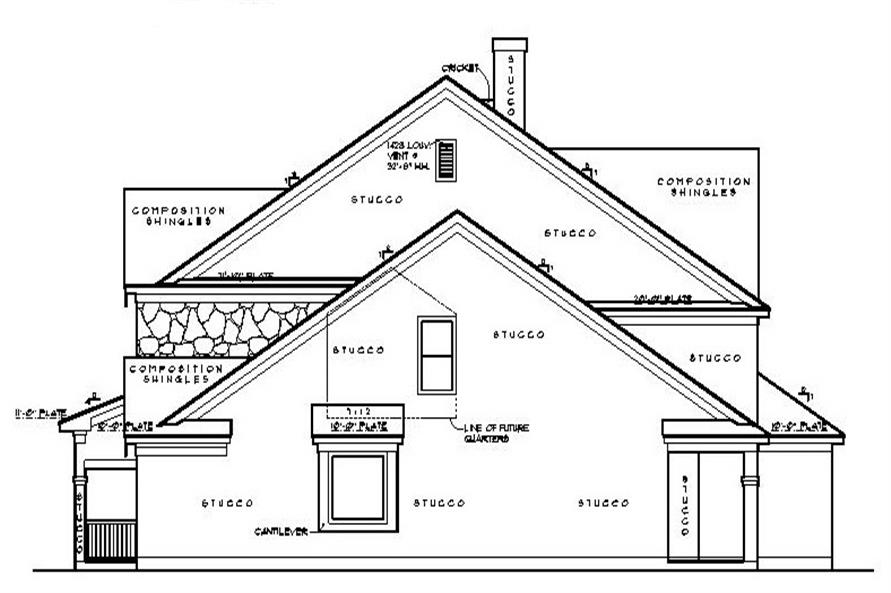 Home Plan Right Elevation of this 5-Bedroom,4550 Sq Ft Plan -134-1130