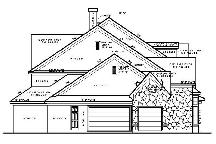 Home Plan Left Elevation of this 5-Bedroom,4550 Sq Ft Plan -134-1130