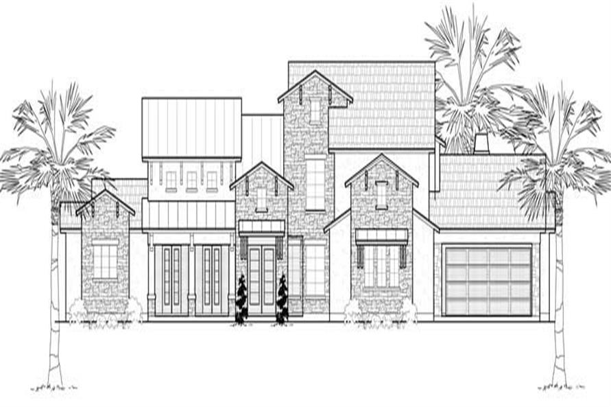 Home Plan Front Elevation of this 4-Bedroom,4530 Sq Ft Plan -134-1133