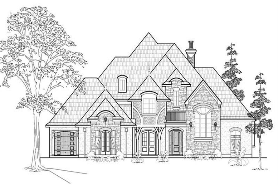 4-Bedroom, 4559 Sq Ft European Home Plan - 134-1140 - Main Exterior