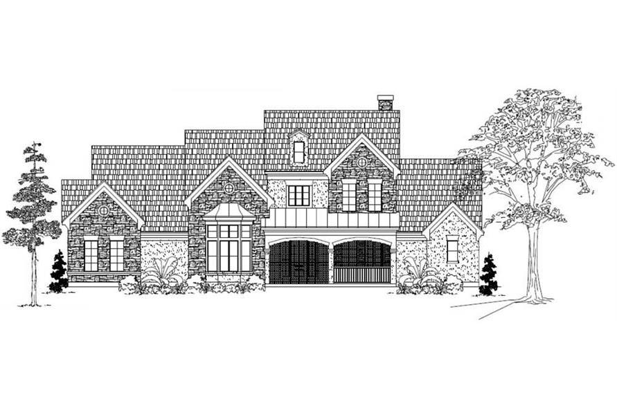 Main elevation for European house plans' GMLD-550-C