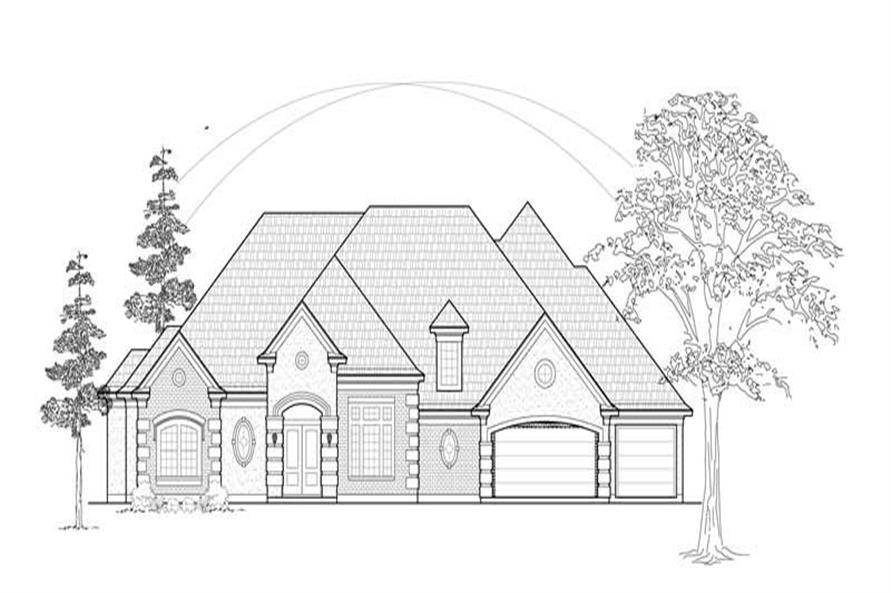 4-Bedroom, 3896 Sq Ft Luxury House Plan - 134-1146 - Front Exterior