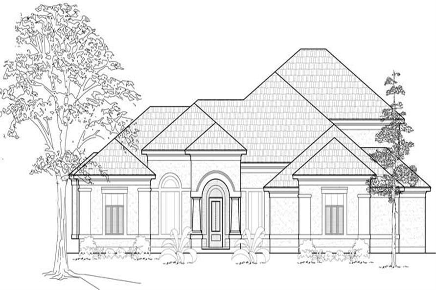 3-Bedroom, 3324 Sq Ft Mediterranean House Plan - 134-1148 - Front Exterior