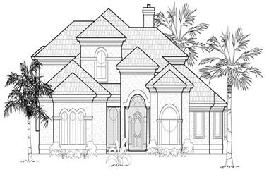 4-Bedroom, 3915 Sq Ft Mediterranean House Plan - 134-1156 - Front Exterior