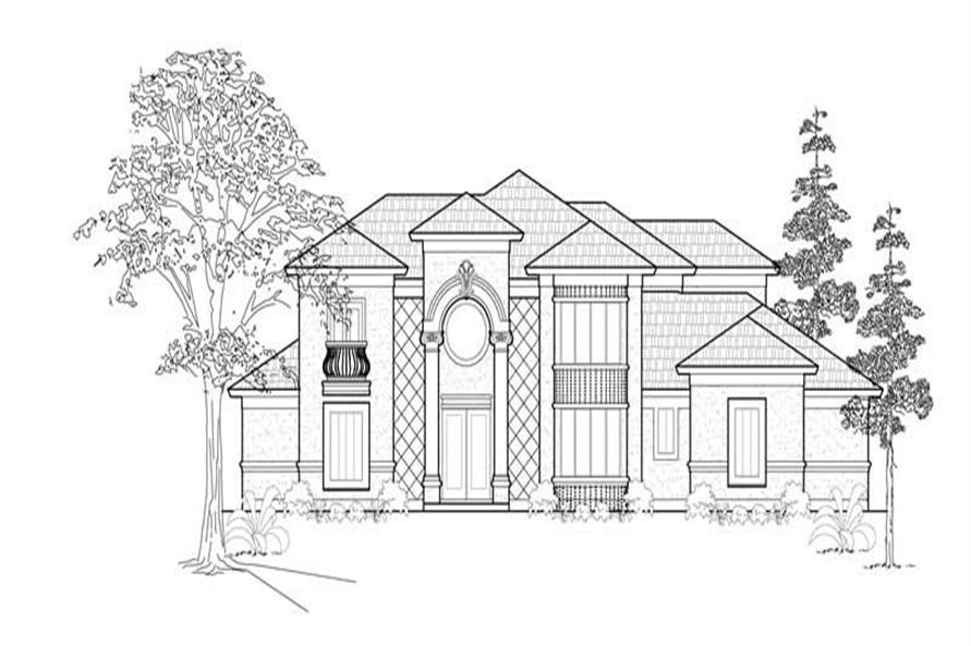 3-Bedroom, 3671 Sq Ft European House Plan - 134-1157 - Front Exterior