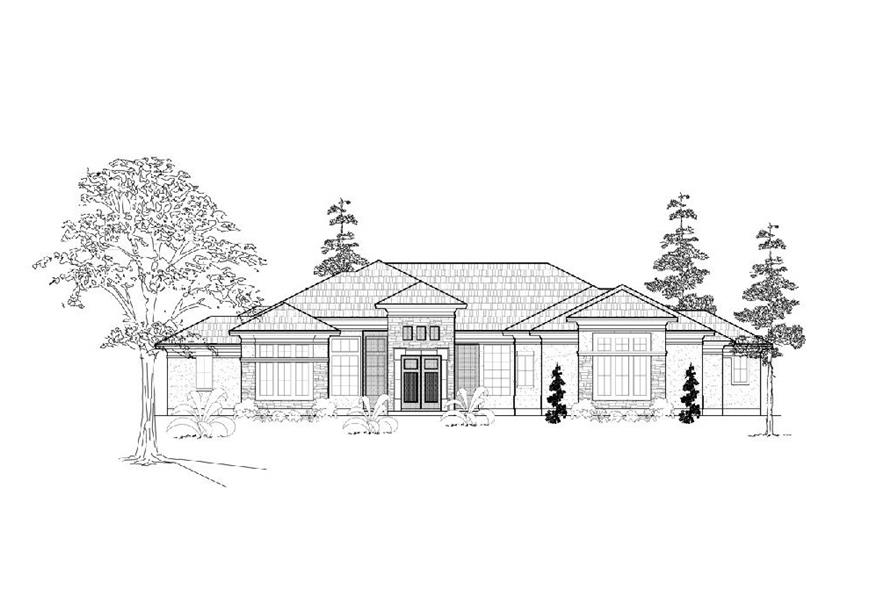 Home Plan Front Elevation of this 3-Bedroom,3725 Sq Ft Plan -134-1161