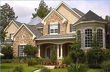Front elevation of Luxury home (ThePlanCollection: House Plan #134-1178)