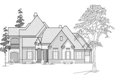 4-Bedroom, 4429 Sq Ft Luxury House Plan - 134-1182 - Front Exterior