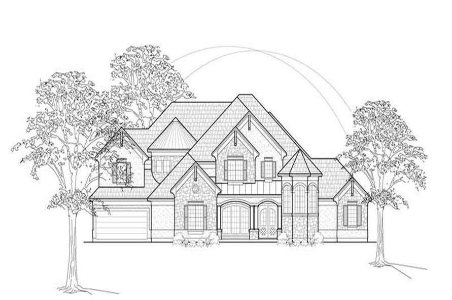 Home Plan Front Elevation of this 4-Bedroom,4485 Sq Ft Plan -134-1183