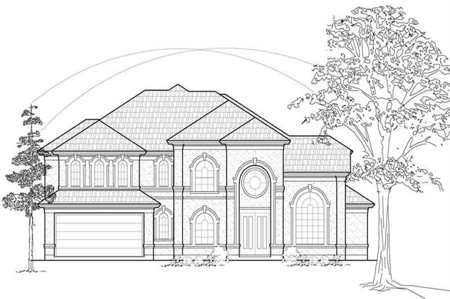 Home Plan Front Elevation of this 3-Bedroom,3999 Sq Ft Plan -134-1191