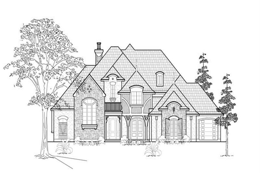 Home Plan Front Elevation of this 4-Bedroom,4083 Sq Ft Plan -134-1205