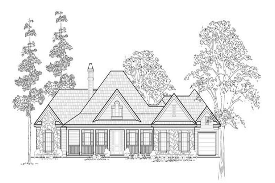 3-Bedroom, 2958 Sq Ft Country House Plan - 134-1208 - Front Exterior