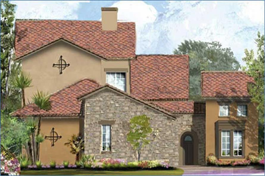 3-Bedroom, 3287 Sq Ft Mediterranean House Plan - 134-1245 - Front Exterior