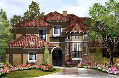 3-Bedroom, 3413 Sq Ft Mediterranean House Plan - 134-1252 - Front Exterior