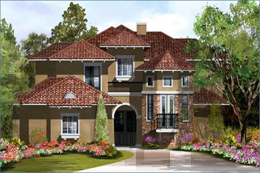 3-Bedroom, 3413 Sq Ft Mediterranean House Plan - 134-1252 - Front Exterior