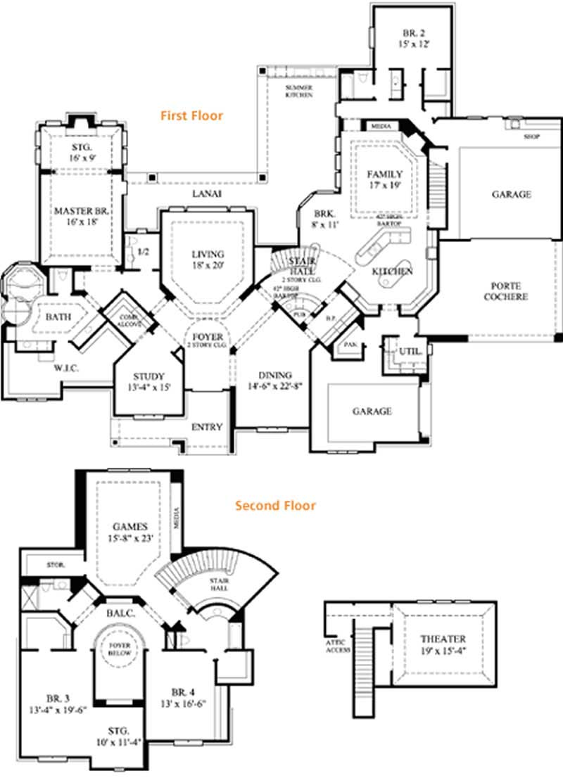 Luxury traditional house plans home design 134 1264 for 6000 square foot house plans