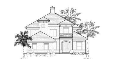 4-Bedroom, 3598 Sq Ft Mediterranean House Plan - 134-1280 - Front Exterior