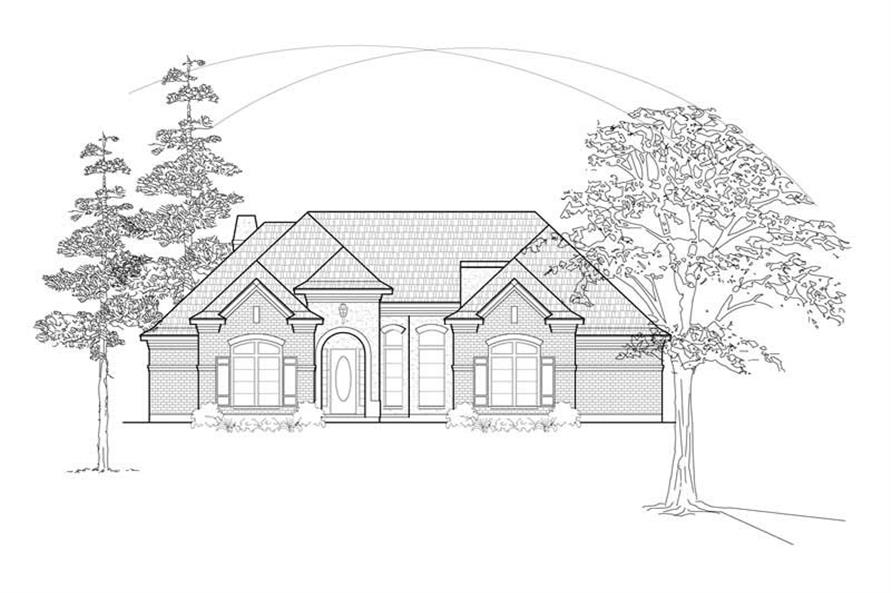 Home Plan Front Elevation of this 2-Bedroom,2581 Sq Ft Plan -134-1284