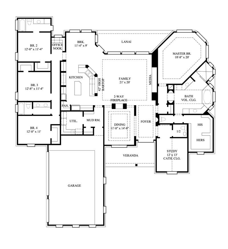 4 Bedrm 3367 Sq Ft Country House Plan 134 1293
