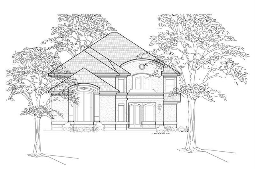3-Bedroom, 3448 Sq Ft European House Plan - 134-1294 - Front Exterior