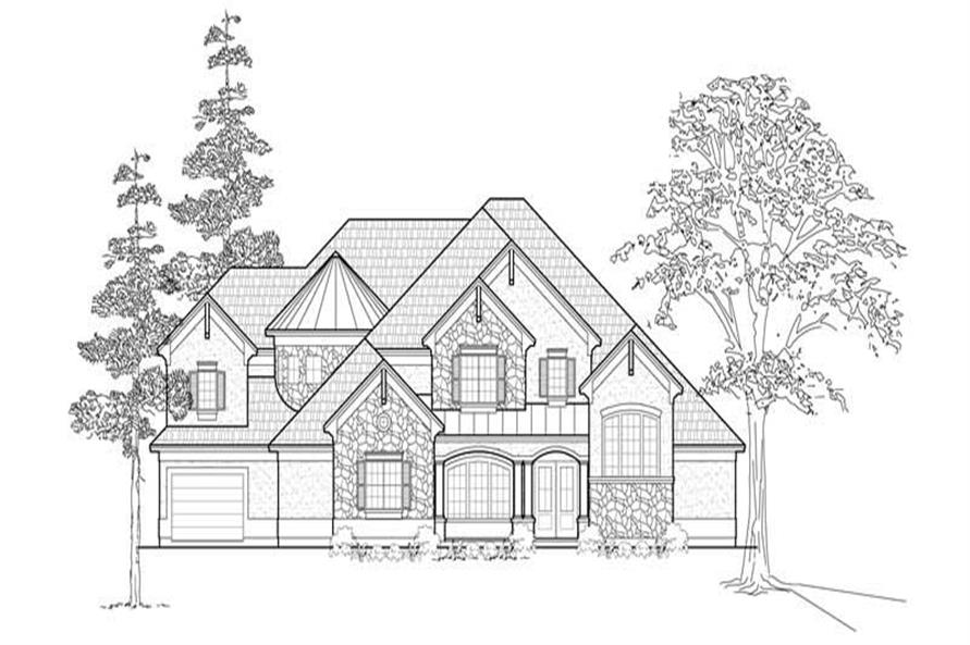 Home Plan Front Elevation of this 4-Bedroom,4602 Sq Ft Plan -134-1298