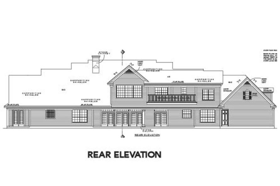 Home Plan Rear Elevation of this 4-Bedroom,5052 Sq Ft Plan -134-1312